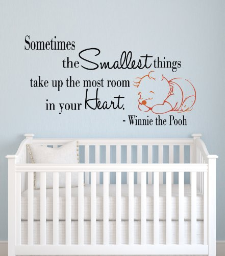 Sometimes the Smallest Things Take up the Most Room in Our Heart Winnie the Pooh Wall Decal Quote Decor Art - Pooh Wall