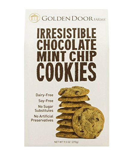 Golden Door Farms Irresistible Chocolate Mint Chip cookies, all natural, small batch, dairy free, 18 cookies per box, net weight 9.5 oz (Free 18 Net)