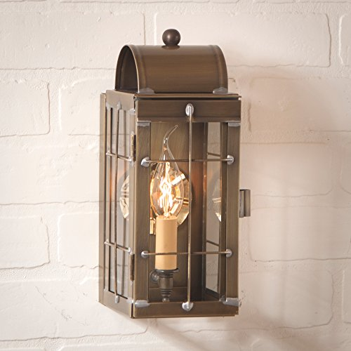 Irvin's Country Tinware Cape Cod Wall Lantern in Weathered Brass