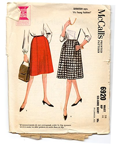 McCall's 1950s vintage sewing pattern 6920 six-gore skirt - Waist size 28
