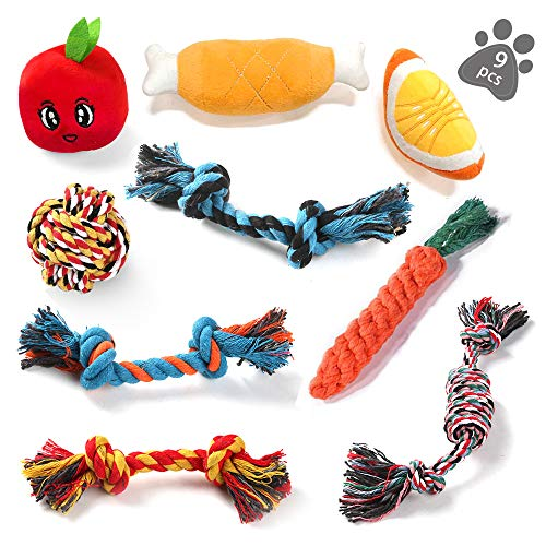 KIPIDA Dog Rope Toys for Small Dog,Dog Chew Toys for Puppy 9 Pack Durable Dog Teething Toys Tough Chewing Dog Rope Toys and Squeaky Toys Puppies Teething Chew Toys Training Dog Toys for Small Dogs