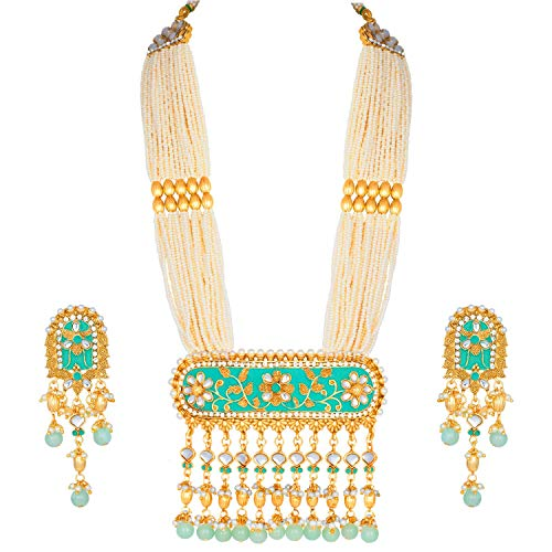 I Jewels Traditional Gold Plated Kundan Pearl Multi Layered Mint Meena Work Long Necklace & Earrings Set for Women (ML181Min)