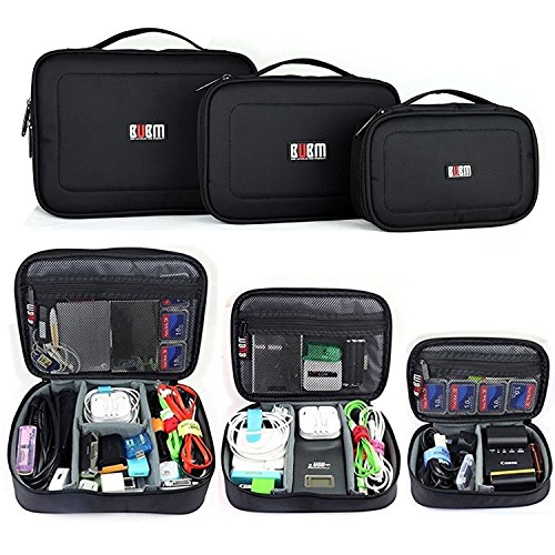 BUBM Electronic Organizer Travel Gadget Bag for USB Cable,Power Cords,Chargers,Plug,Battery,External Hard Drive,Memory Card(3pcs/set,Black)
