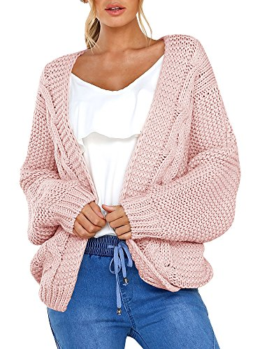 (Niitawm Womens Chunky Cable Cardigans Long Sleeve Knit Oversized Cardigan Sweaters Outwear (L,Pink))