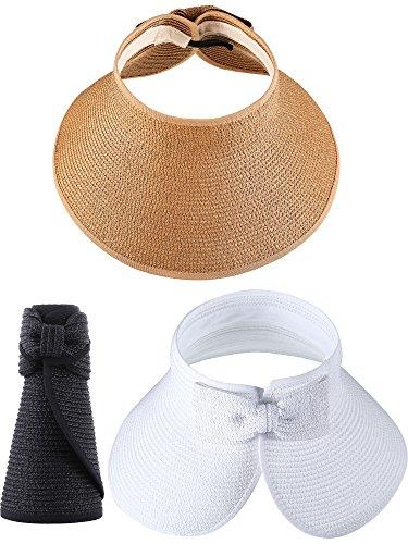 Hestya 3 Pieces Wide Brim Sun Visor Foldable Roll-up Straw Sun Visor for Women Girls Beach Seaside Holiday, 3 Colors