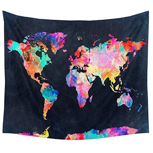 Colorful Wall Map - Tapestry Wall Hanging World Map Wall Tapestry Black & Watercolor Abstract Painting Mandala Bohemian Tapestry Indian Wall Decor Curtains Tablecloths Beach Towels Home Room Headboard Decor Queen Size