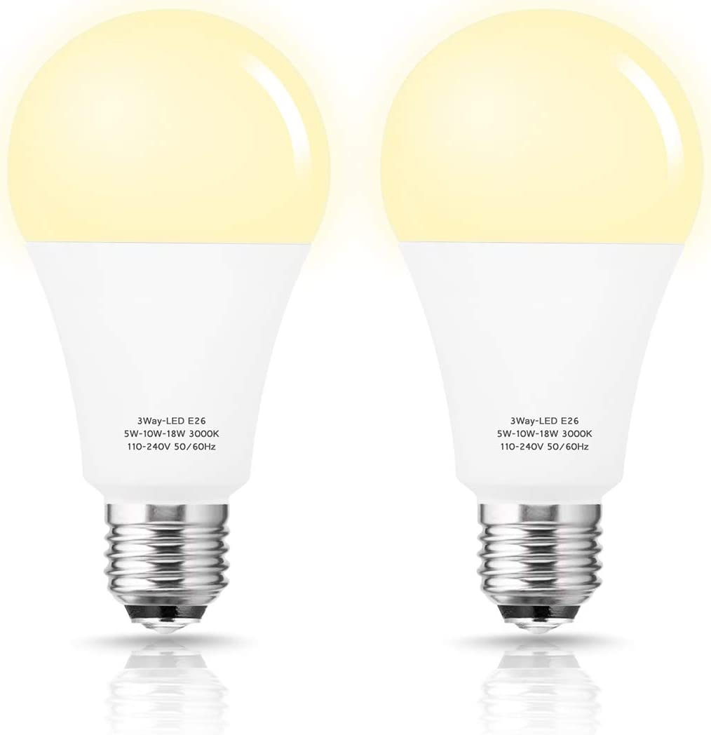 Briignite 50/100/150W Equivalent 3 Way LED Light Bulb, A21 Soft White 3000K Light Bulbs with E26 Medium Base, 600LM/1250LM/1850LM, Perfect for Home Lighting, Table Lamp, Floor Lamp, 2 Pack