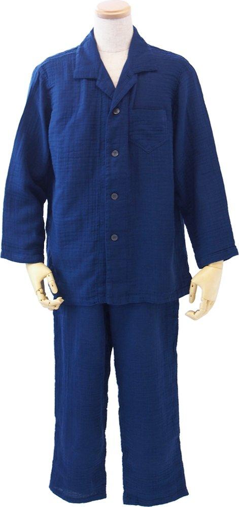 UCHINO クレープガーゼ メンズパジャマ (LA) ダークブルー RPZ15005 LA DB B01G1EZOEU LA|ダークブルー ダークブルー LA