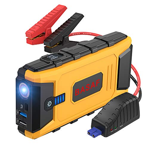BASAF Car Jump Starter 1200A Peak,12V Portable Battery Pack (up to 8.0L Gas, 6.0L Diesel Engine), Power Bank Type-C in/Out and Dual USB Quick Charge Ports (Best Car Jump Starter Power Bank)