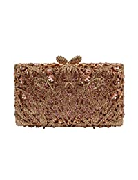 YILONGSHENG Clutch Bags With Crystal For Women EB0109 Champagne