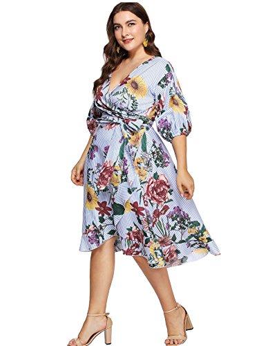 29685029ed Milumia Plus Size Summer Wrap V Neck Chiffon 3 4 Sleeves Casual Party Midi Dress  Floral