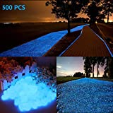 chic style 2.5lb 500Pcs Glow in The Dark Stones Garden Pebbles Rocks Indoor Outdoor Decor Luminous Stone for Walkways Driveway Yard Grass Fish Tank Halloween Decoration Large Bag: more info