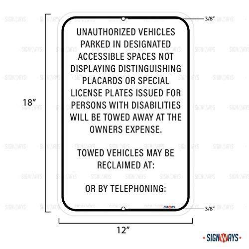 Unauthorized Vehicles Sign, Includes Holes, 3M Quality Reflective, Aluminum, 12