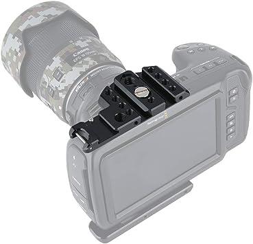 Amazon Com Niceyrig Top Plate For Bmpcc 4k 6k Blackmagic Pocket Cinema Camera Mounting Plate With Nato Rail Cold Shoe 1 4 Arri Locating Hole 373 Camera Photo