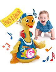 hahaland Baby Toys for 1 Year Old Boy Girl Dancing Walking Musical Swing Duck with Light, Interactive Toddler Baby Toys 12-18 Months Development Kids Toys for 18 Months+