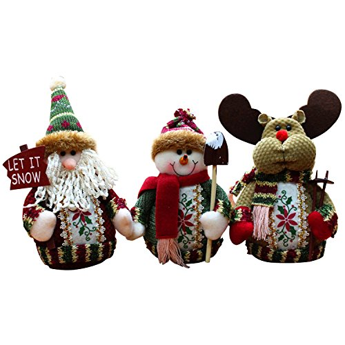 3PCS Christmas Decor Dolls Santa Claus Snowman Reindeer Hanging Ornaments Table Decorations Gift Set C