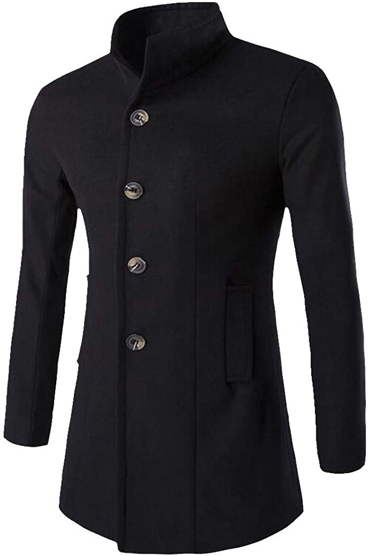 Bigbarry Mens Warm Single Breasted Casual Classic Overcoat Woolen Blend Pea Coats