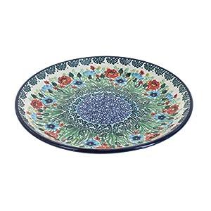 Blue Rose Polish Pottery Watercolor Garden Dessert Plate