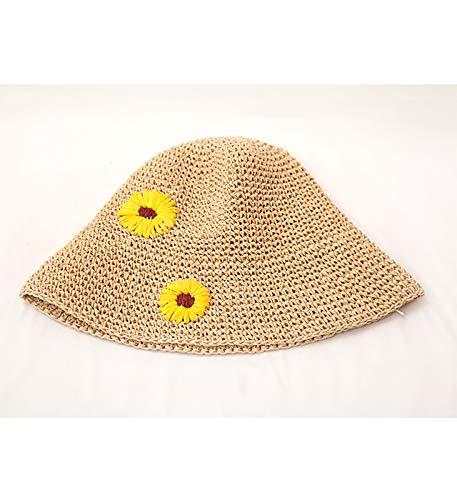 JEGOAU Daisy Sweet Elegant Hand-Woven Straw hat Cap Children Summer Sun pots Foldable Beach Resort (Daisy (Woven Cap Hand Straw)