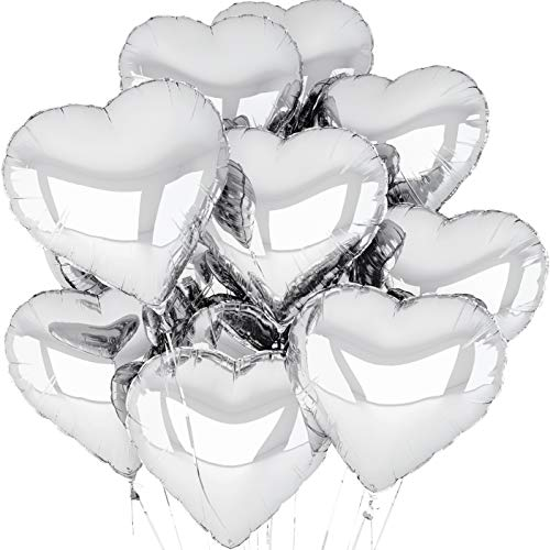 (Silver Heart Balloons | 12 Pack | Engagement Party Decorations | Silver Mylar Love Balloons)