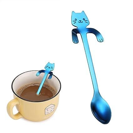 Diseño de cuchara, hunpta Cute Cat cuchara cucharas de mango largo cubiertos café potable herramientas