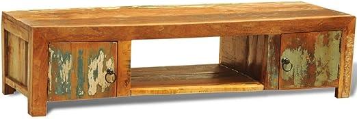 UnfadeMemory Mueble para TV,Mesa para TV,Mesa Baja para Televisor para Salón Dormitorio con 2 Puertas,Estilo Vintage Antiguo,Madera Reciclada Sólida,120x40x30cm