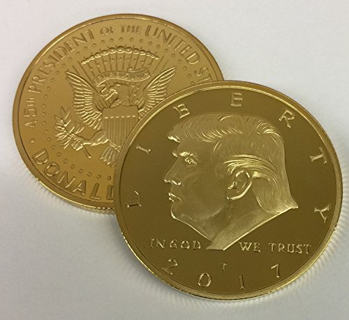 2017 President Donald Trump Gold Inaugural EAGLE Commemorative Novelty Coin 38mm. 45th President of the United States of America CERTIFICATE OF - Commemorative Novelty