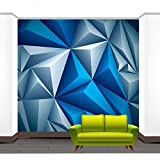 Ohcde Dheark 3D Blue Grey Geometry Abstract Wallpaper Wall Paper Home Mural Rolls ,350cmX245cm(137.8 By 96.5 In )
