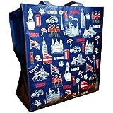 My London Souvenirs - Bolsa de mano con diseño de monumentos icónicos de Londres Bolsa de la compra reutilizable