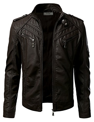 eve Premium Stand Collar Zip Up Faux Leather Jacket Brown L ()