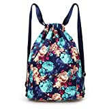Drawstring Backpack Flowers String Bag with Water Bottle Pocket Travel Bag Girl