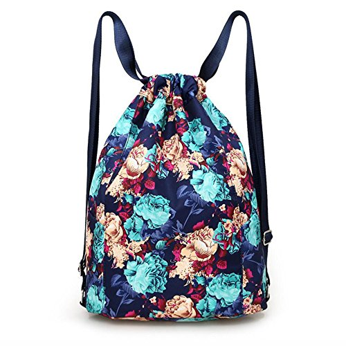 Drawstring Backpack Flowers String Bag with Water Bottle Pocket Travel Bag Girl