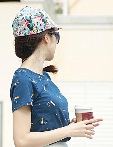 Chapeau de soleil d'été Été féminin Coton Chapeau imprimé Détente solaire Chapeau extérieur Pour les voyages de plage sortants