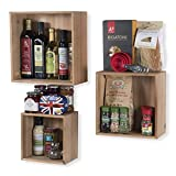 WALLNITURE Modern Home Décor Cube Display Nesting Wine Storage Rack Floating Shelves Set of 3 Natural