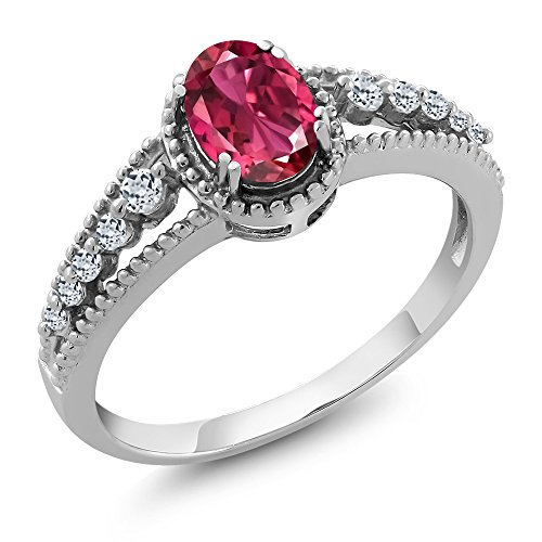 0.91 Ct Oval Pink Tourmaline White Topaz 925 Sterling Silver Ring (Size 8)