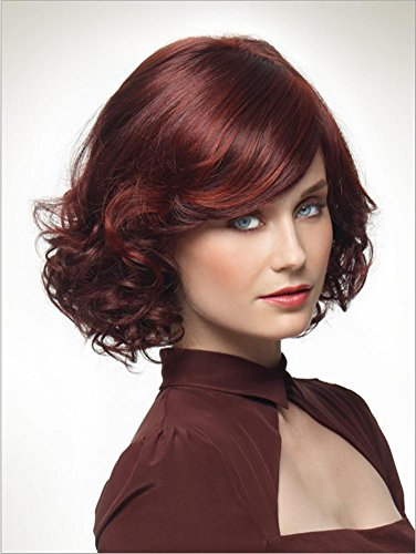 2017 Trendy Top Pop Elegant Red Wine Short Wig with Bottom Curls+a Free Wig Cap , picture color (Jewish Hat With Curls)
