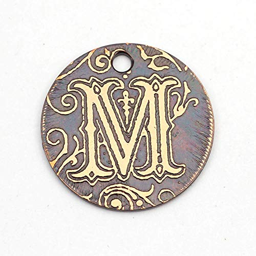 Small round handmade etched copper letter M charm, 22mm