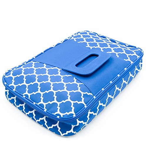 - Insulated Casserole Carrier with Handle, Thermal Travel Tote Bag, Pretty Trellis Patterned Carrying Case (Royal Blue, 9 x 13)