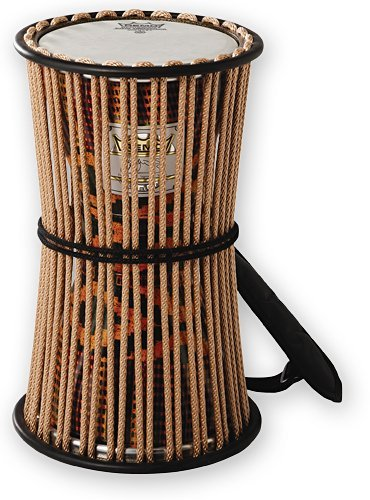 REMO Talking Drum, 8'' Diameter, 16'' Height, Fabric Afr Stripe by Remo