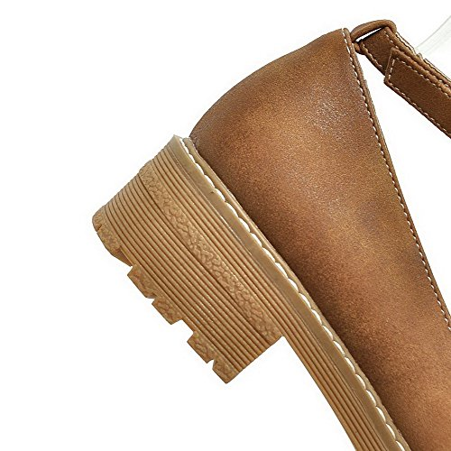 Heels Toe Round WeenFashion Low Soft Women's Buckle Lightbrown Shoes Solid Material Pumps 8FpFE0UT