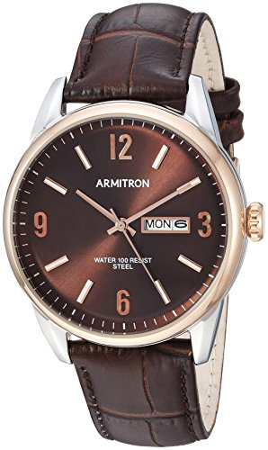 Armitron Men's 20/5048 Day/Date Function Dial Croco-Grain Leather Strap Watch