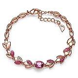CDE Women's Bracelet, Rose Gold Flower Bangle Bracelets Encounter Love Jewelry Gifts for Girls Women, Crystals from Swaovski