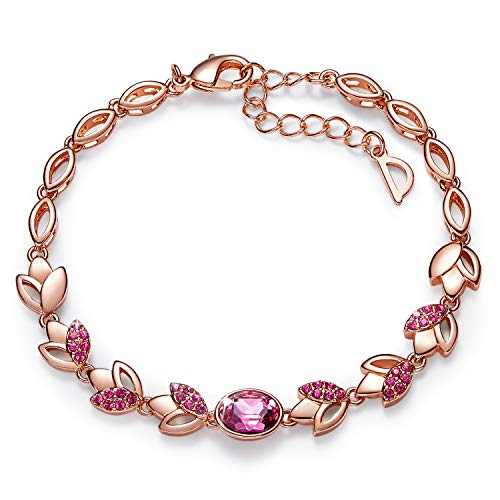 CDE 18K Rose Gold Plated Women Bracelet Bangle Swarovski Flower Rose Jewelry,Ideal Gifts for Her (Rose Gold Bracelet)