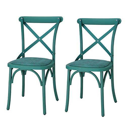 Adeco Econ-Friendly Nylon Vintage-Style Dining Chair Curved Leg Cross Back (Set of 2), Blue