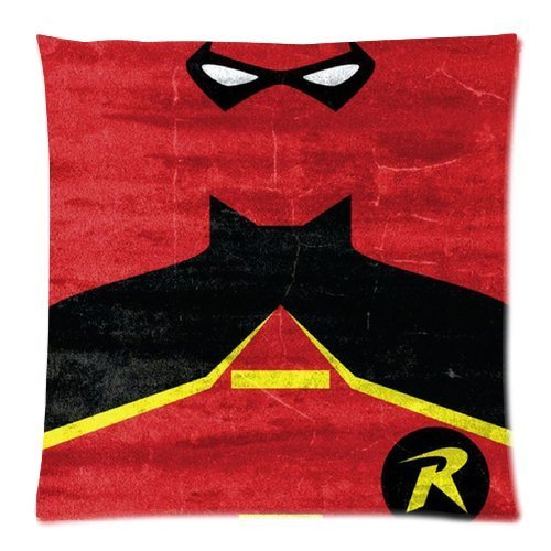 Custom Cotton & Polyester Soft Square Zippered Cushion Throw Case Pillow Case Cover 18X18 (Twin Sides) - Superhero Batman Batman And Robin Best Friends Red Background Personalized Pillowcase