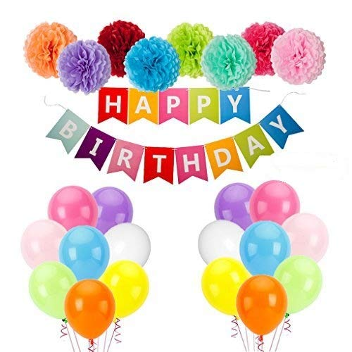 Jmay Colorful Happy Birthday Party Decorations Banner Balloons Tissue Paper Pom Poms Kit 50Pcs by Jmay
