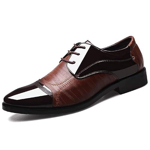 Zapatos Hombre Vestir, Charol Cuero Oxford Cordones Derby Boda Negocios Calzado Traje Elegante Casual Moderno Cómodo Negro Marrón 38-48