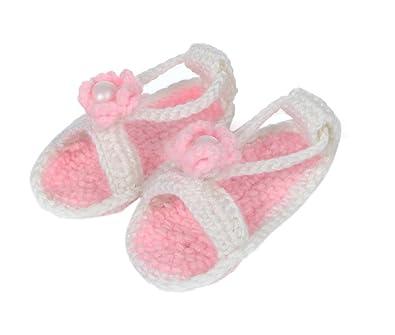 f0eba3b1554d6 Bigood Sandales Bébé Garçon Fille au Crochet Chausson Décor Fleur Blanc   Amazon.fr  Chaussures et Sacs