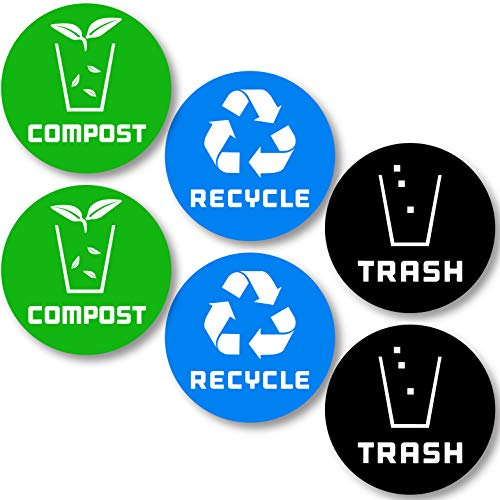 Container Decal - 6 Pack (4in x 4in) Recycle Logo and Trash can Sticker to Organize Your Trash - for Trash cans, Garbage containers and Recycle Bins - Premium Vinyl Decal (4in x 4in, Compost 6pk)