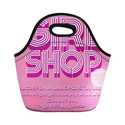 Semtomn Lunch Tote Bag Lady Pink Glamour Striped Alphabet Graphic Text Girl Abc Reusable Neoprene Insulated Thermal Outdoor Picnic Lunchbox for Men Women]()